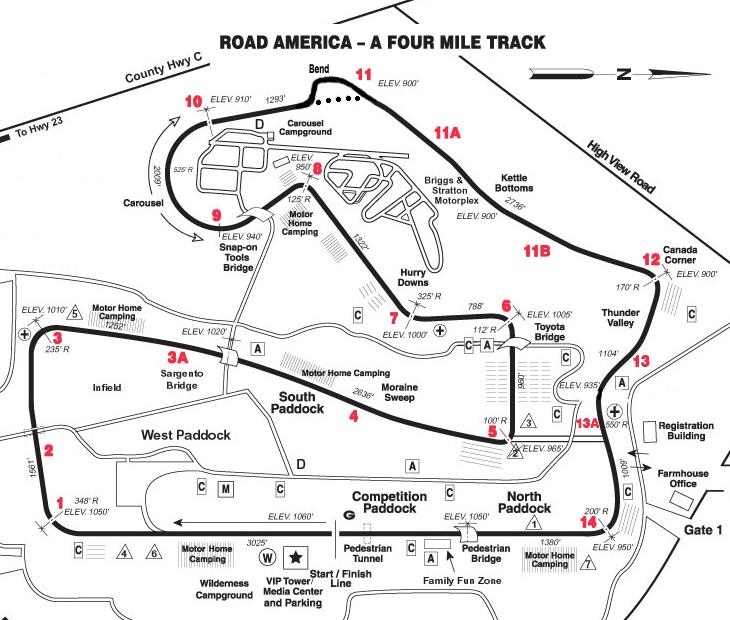 Road America Track Map Elkhart Lake Race Track Motorplex