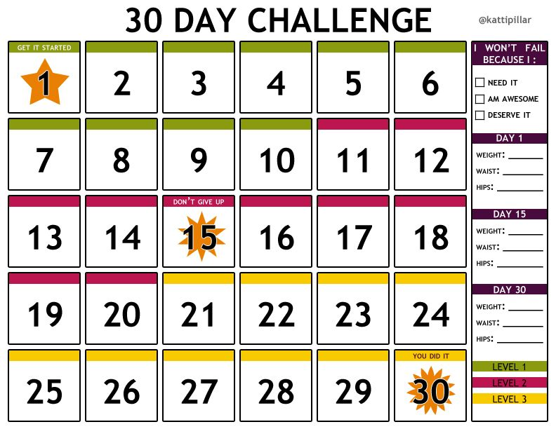 I made this free printable 30 day challenge calendar for anyone to ...