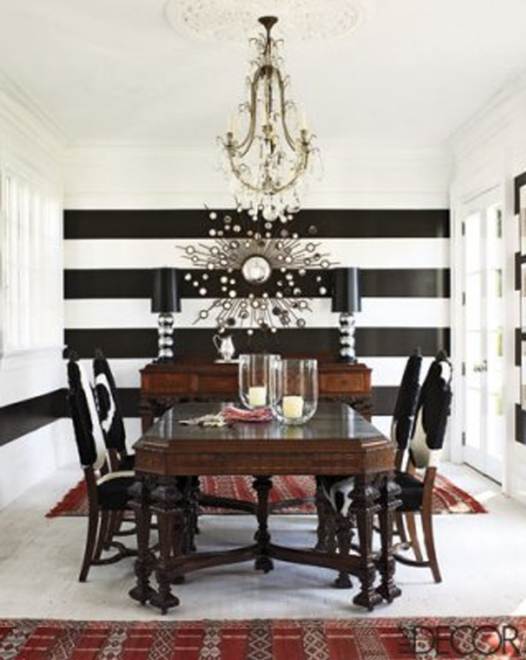 A Divine Dining Room Bold Black And White Horizontally Striped Walls In The