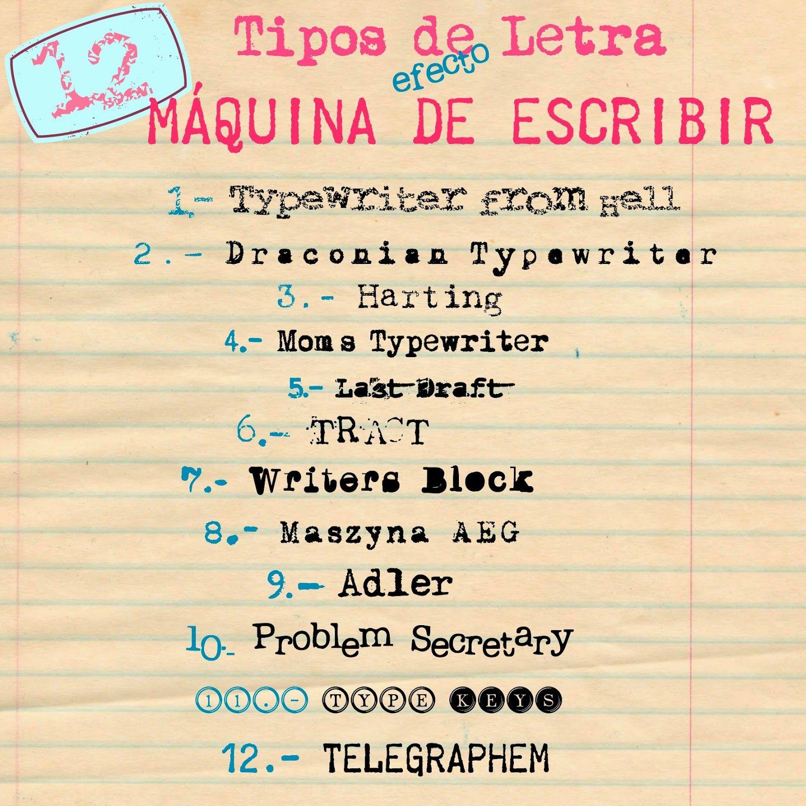 TIPOS DE LETRA (TIPOGRAFÍA) EFECTO MÁQUINA DE ESCRIBIR | Letras ...