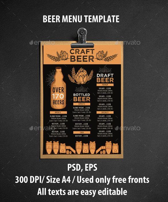 20 Beer Menu Templates Free Sample Example Format Download