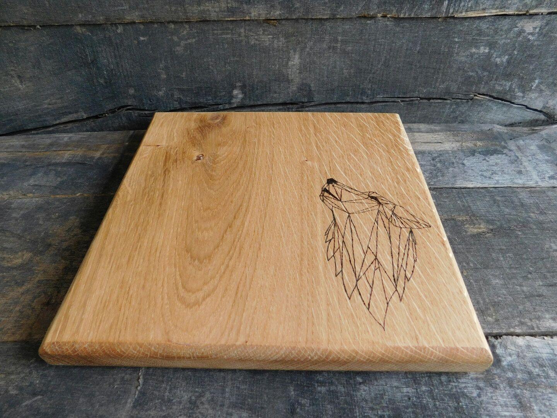 Wolf Howling Oak Chopping Board Oak Chopping Board Oak