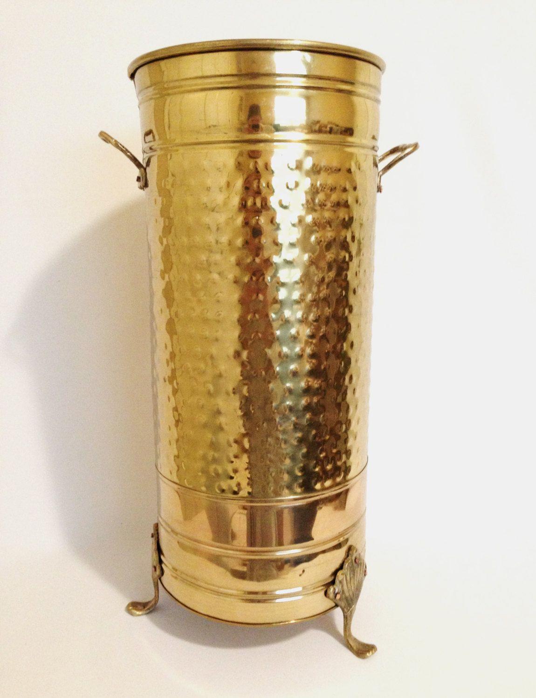 Tall Vintage Brass Vase Art Deco Nouveau Style Greek Urn Gold Wedding Decor Pedestal Centerpiece Rustic Mid Century Hollywood Regency Vintage Brass Umbrella Stand Brass Vase