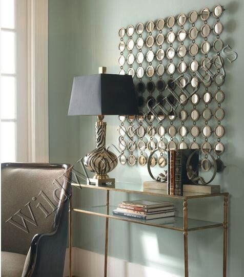 Multi Circles Dot Wall Mirror Lg Modern Silver Sasha Metal Frame