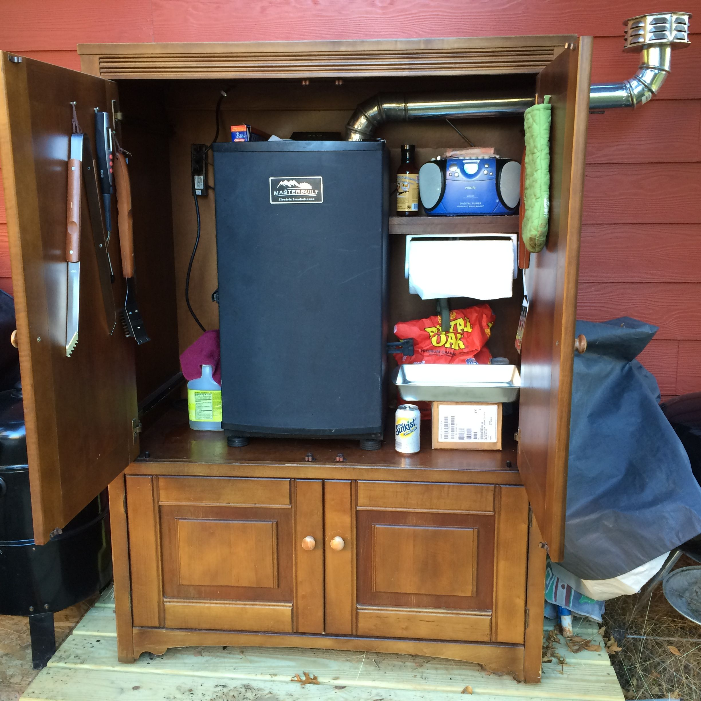 This is my smoker cabinet made from an TV armoire. Having the ...