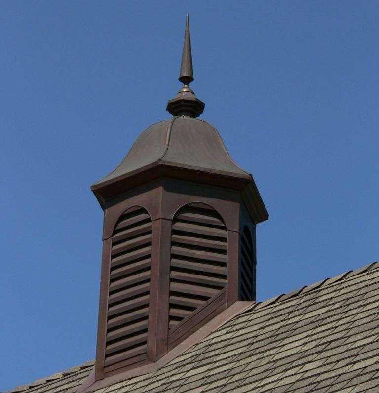 Copper Cupola A Bell Shaped Roof And Grated Sides Enhance The Traditional Beauty Of This Cupola Handmade From 16 O Cupolas Exterior Remodel Copper Hood Vent