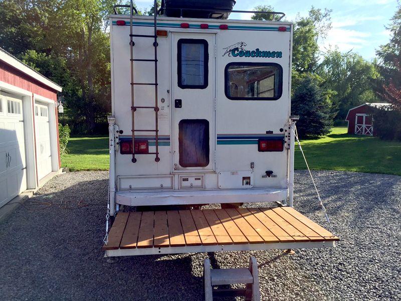 Sliding rear deck on camper http//www