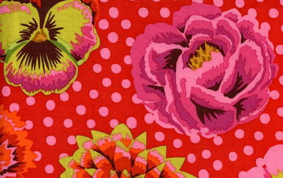kaffe fassett big blooms red fabric happy patterns pinterest. Black Bedroom Furniture Sets. Home Design Ideas