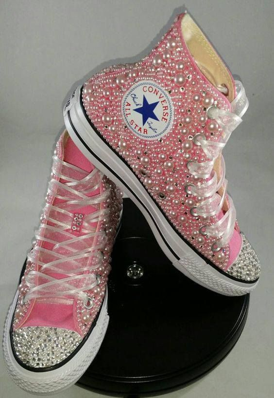 pink converse chaussure with rhinestones
