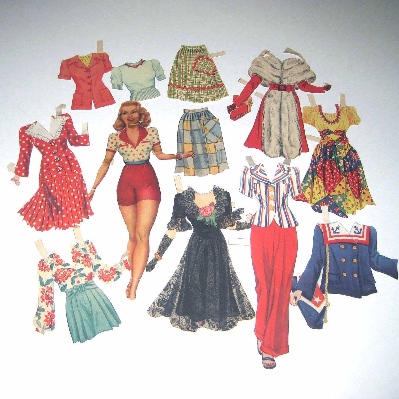 Vintage Paper Dolls Vintage 1940s Lana Turner Movie Star Paper Dolls With Outfits Paper Dolls Vintage Paper Dolls Paper Dolls Printable