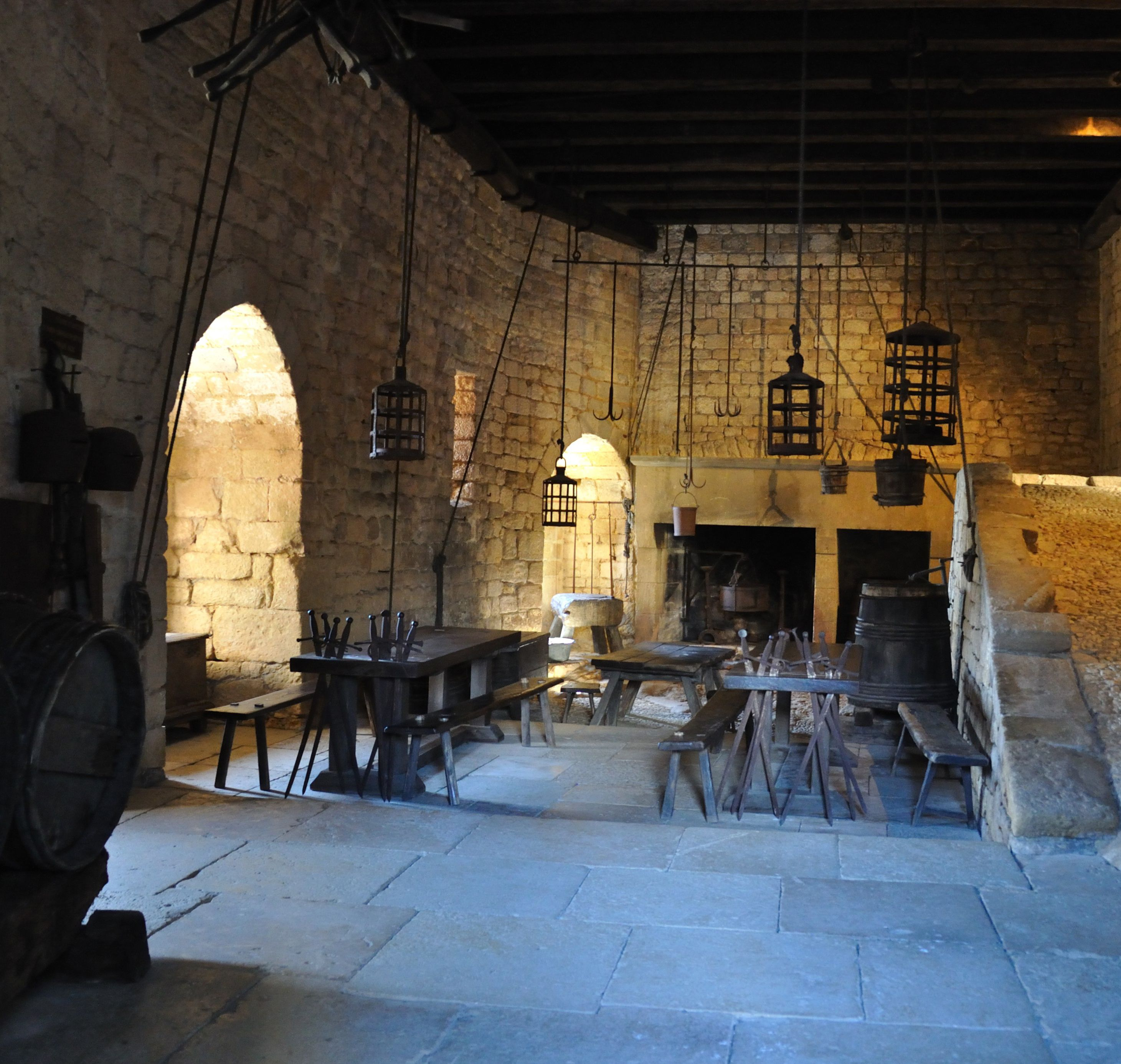 Medieval Castle Beynac. Kitchen/galley With Wood Fired
