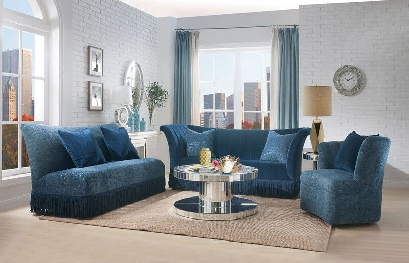 b88d8df13607 2 pc Kaffir dark blue sofa and love seat set. This set includes the Sofa and  the love seat with tasseled skirt bottoms. Sofa measures 91