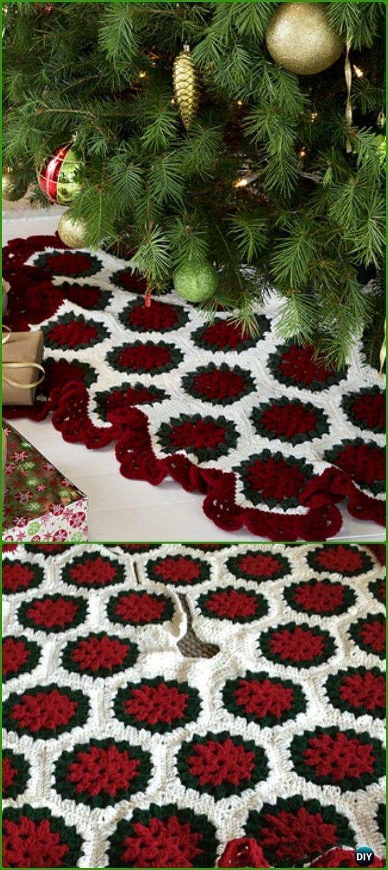 Crochet Christmas Tree Skirt Free Patterns Crochet Christmas Trees
