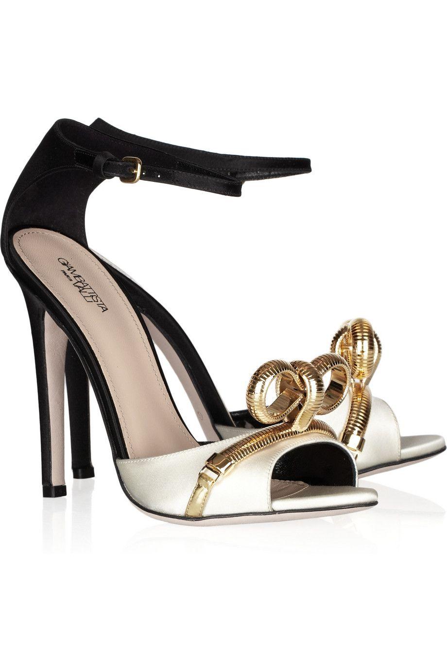 Giambattista Valli Chain Bow Two-tone Satin Sandals