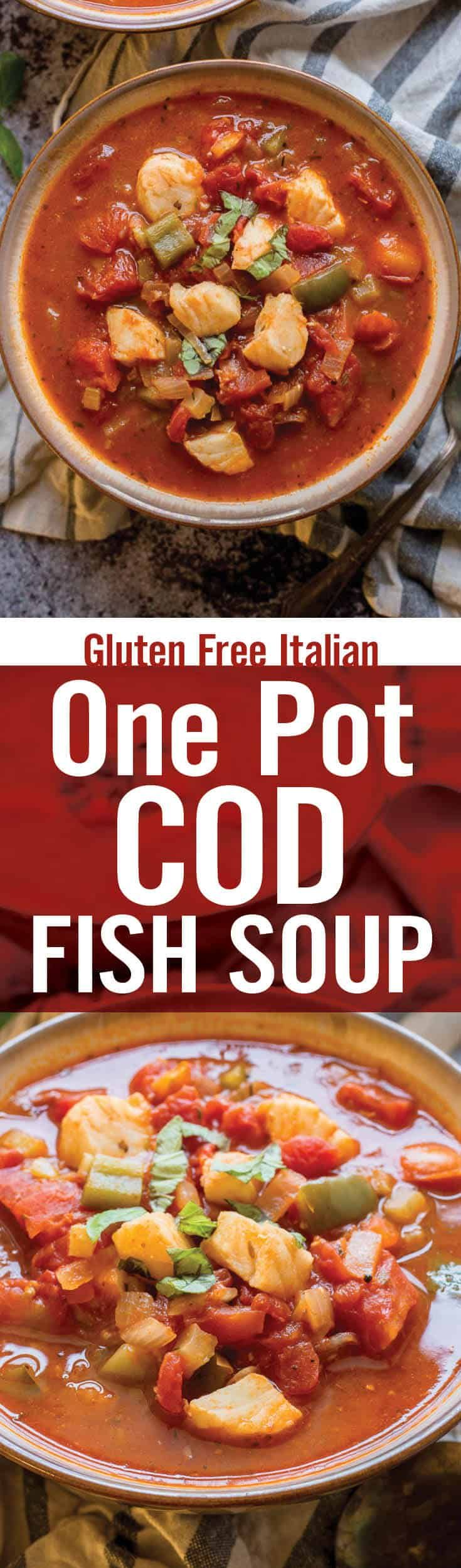 Quick and healthy One Pot Cod Fish Soup is perfect for cold weather. Winter soup recipe with diced tomato, tomato paste, onion, garlic, bell pepper, white wine and cod whitefish. Easy gluten free one pot fish soup. - platingpixels.com