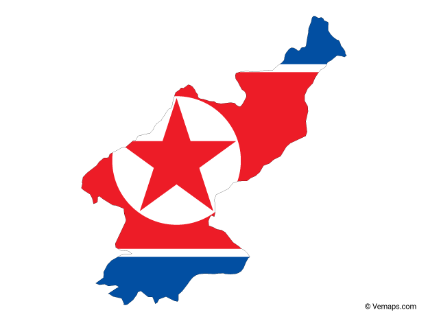 Flag Map Of North Korea Free Vector Maps North Korea Map North Korea Flag North Korea