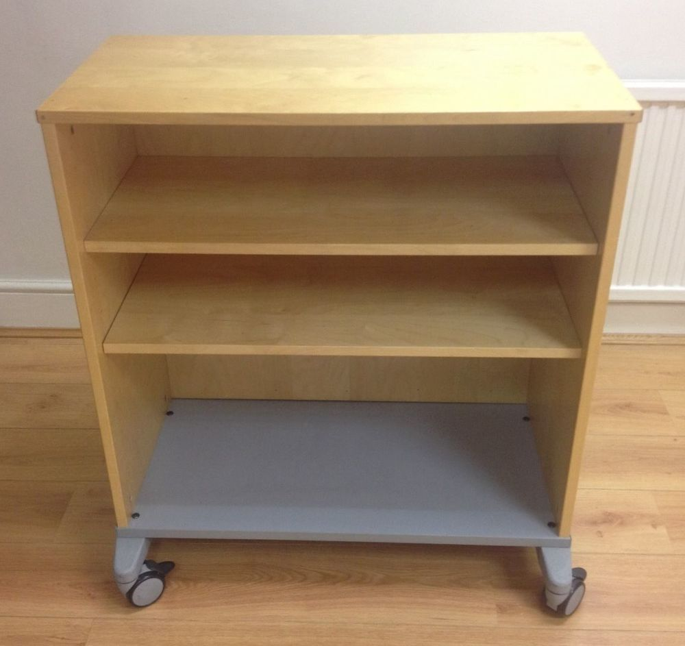 IKEA Effektiv wooden storage cabinet on wheels with 2 shelves ...