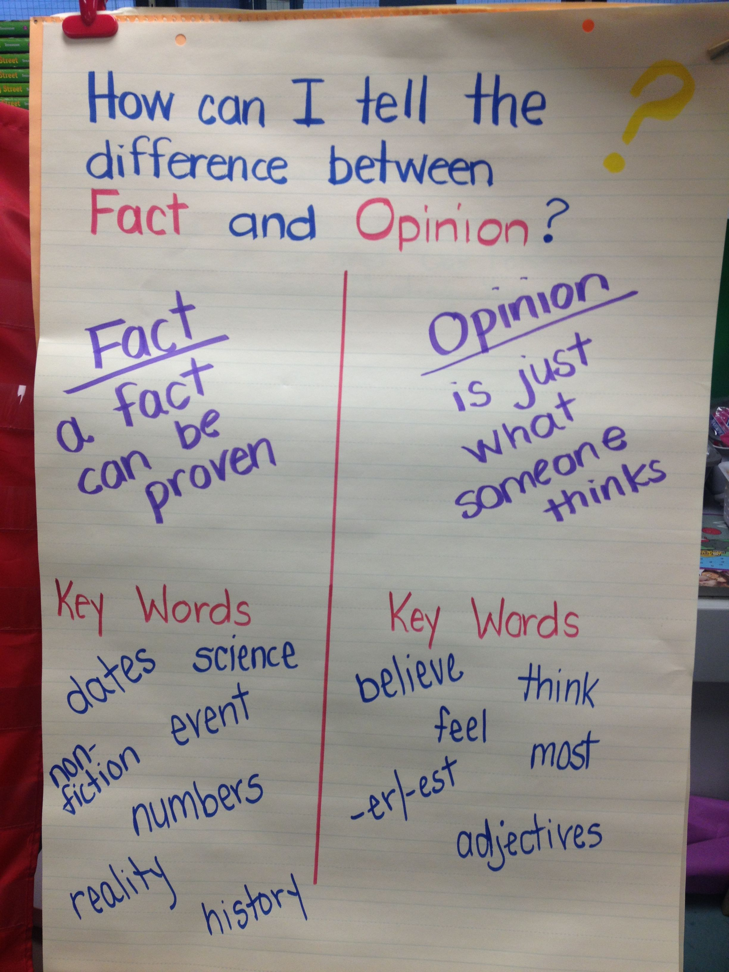 Fact and opinion anchor chart with key words | My Classroom | Pinterest
