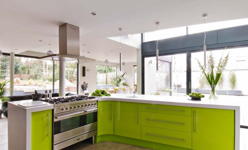 Corian® Worktops In Eye Catching Lime Green Kitchen By Matthew James    Kitchens