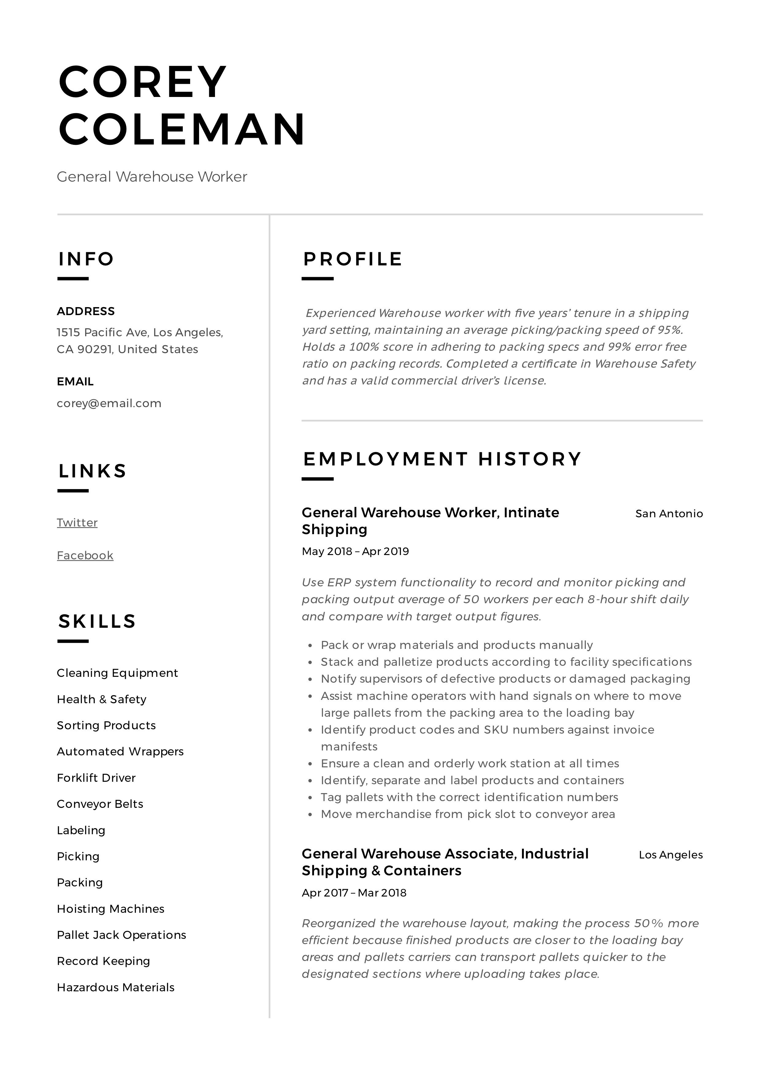 Professional General Warehouse Worker Resume, template