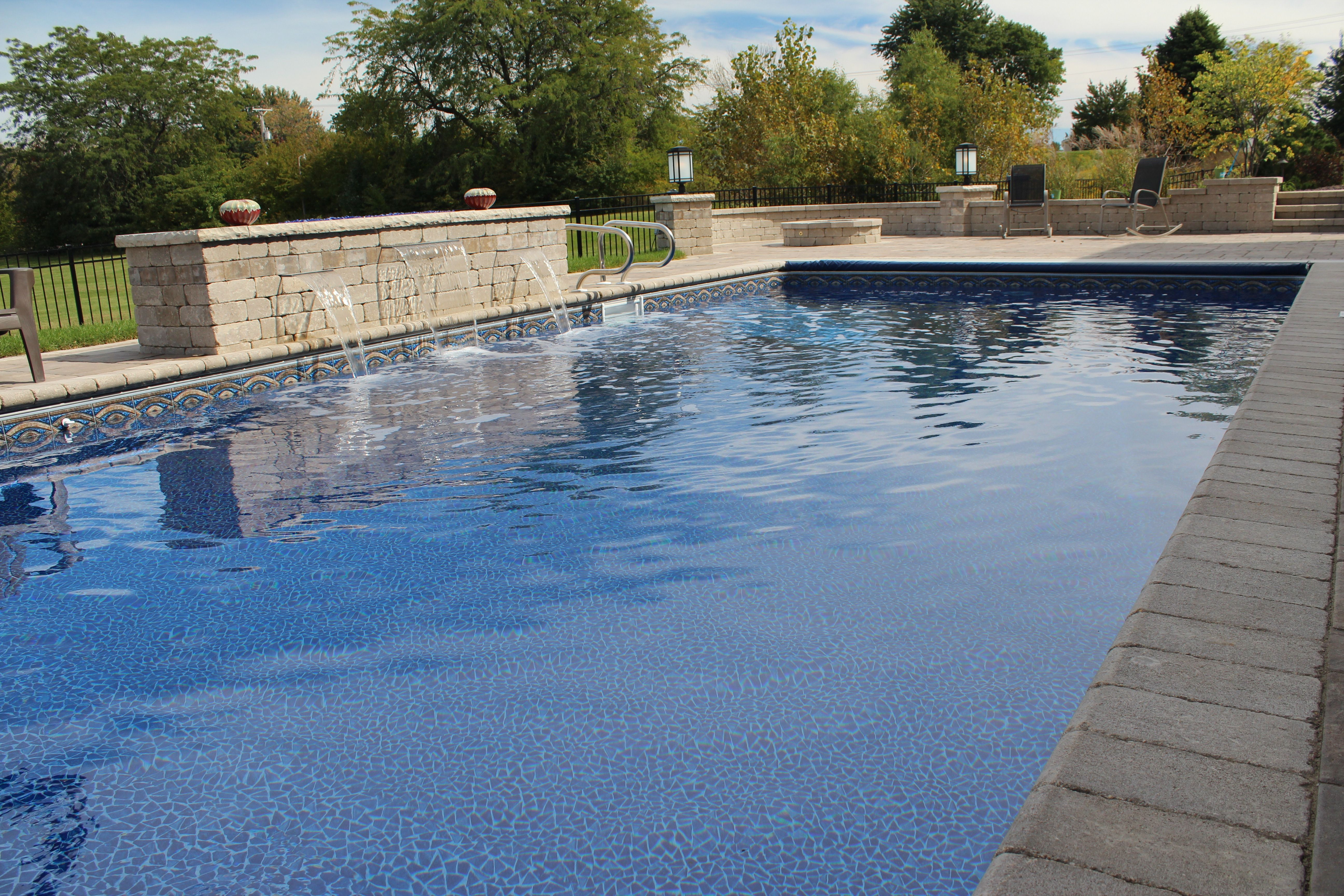 This Is A 15 X 32 Rectangle With Polymer Walls And A Vinyl Liner The Pool Includes A Coverstar Automatic Pool Cover And Full W Aqua Pools Saltwater Pool Pool