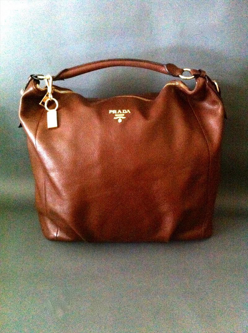 Prada Hobo Bag-Calfskin Leather-Camelia Brown  ba0d39f8457ba