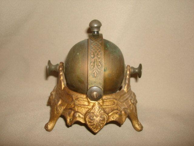 Antique Victorian Ornate MECHANICAL Desk Bell ~ Hotel Store ~ Cast Iron ~  Rare ROTATING BELL - Antique Victorian Ornate MECHANICAL Desk Bell ~ Hotel Store ~ Cast