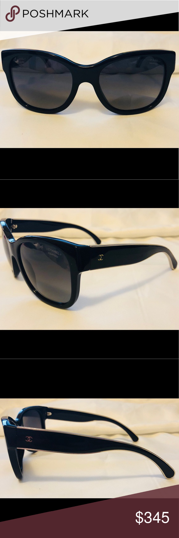 925f075bbc7ab Polarized Chanel 5270 Sunglasses - Black   Gold Frame is a glossy black    is accented