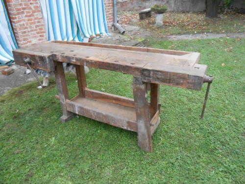 Tavolo antico banco da falegname due morse cassetto 200 x 58 primi 900 in arte e antiquariato - Tavolo da falegname ebay ...