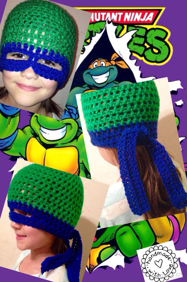 Teenage Mutant Ninja Turtle crochet kids beanie with mask https://m ...