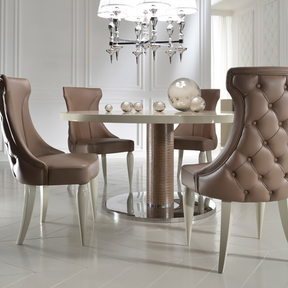 High End Italian Designer Leather Dining Chair  Espacios Amazing Beige Leather Dining Room Chairs Inspiration