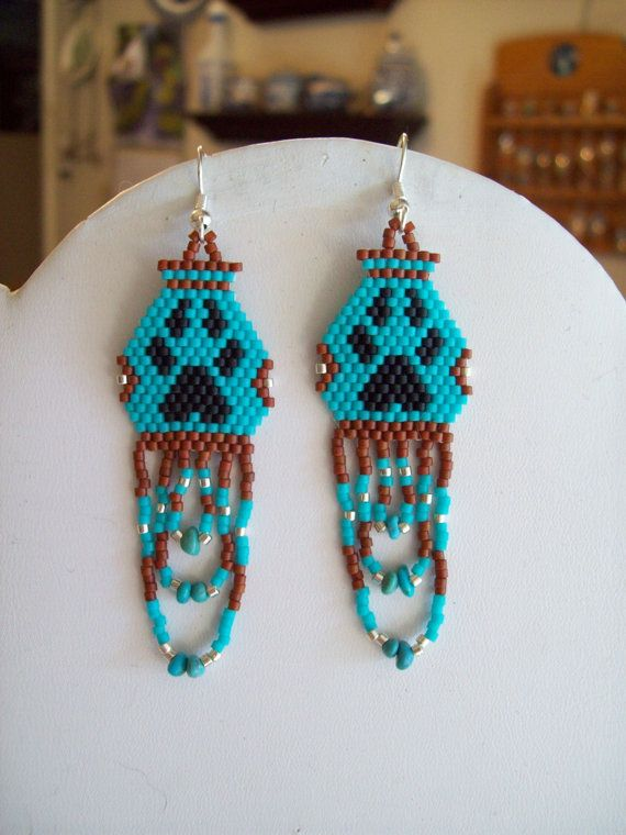 Native American Style Beaded Paw Print Pottery Earrings Turquoise Seinna Black with Tuquoise Chips Southwestern, Boho, Hippie Great Gift