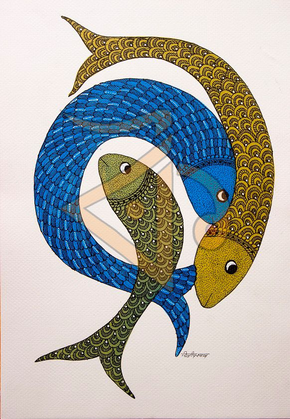 Three Fish Gond Gaze At This Beautiful Motif For Some Time And