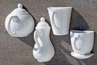 Wand Deko Küche 4 er Set weiss Porzellan Tasse Kanne Boltze