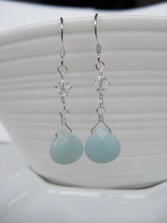 Sterling silver amazonite and swarovski by JewelledPeachDesigns, $38.00