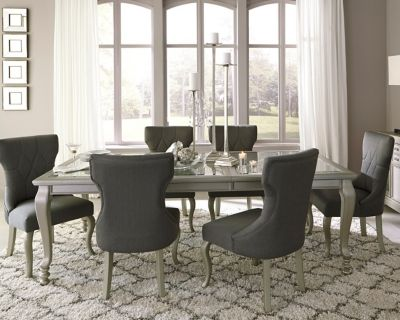 Coralayne Dining Room Table by Ashley HomeStore Silver Decorate