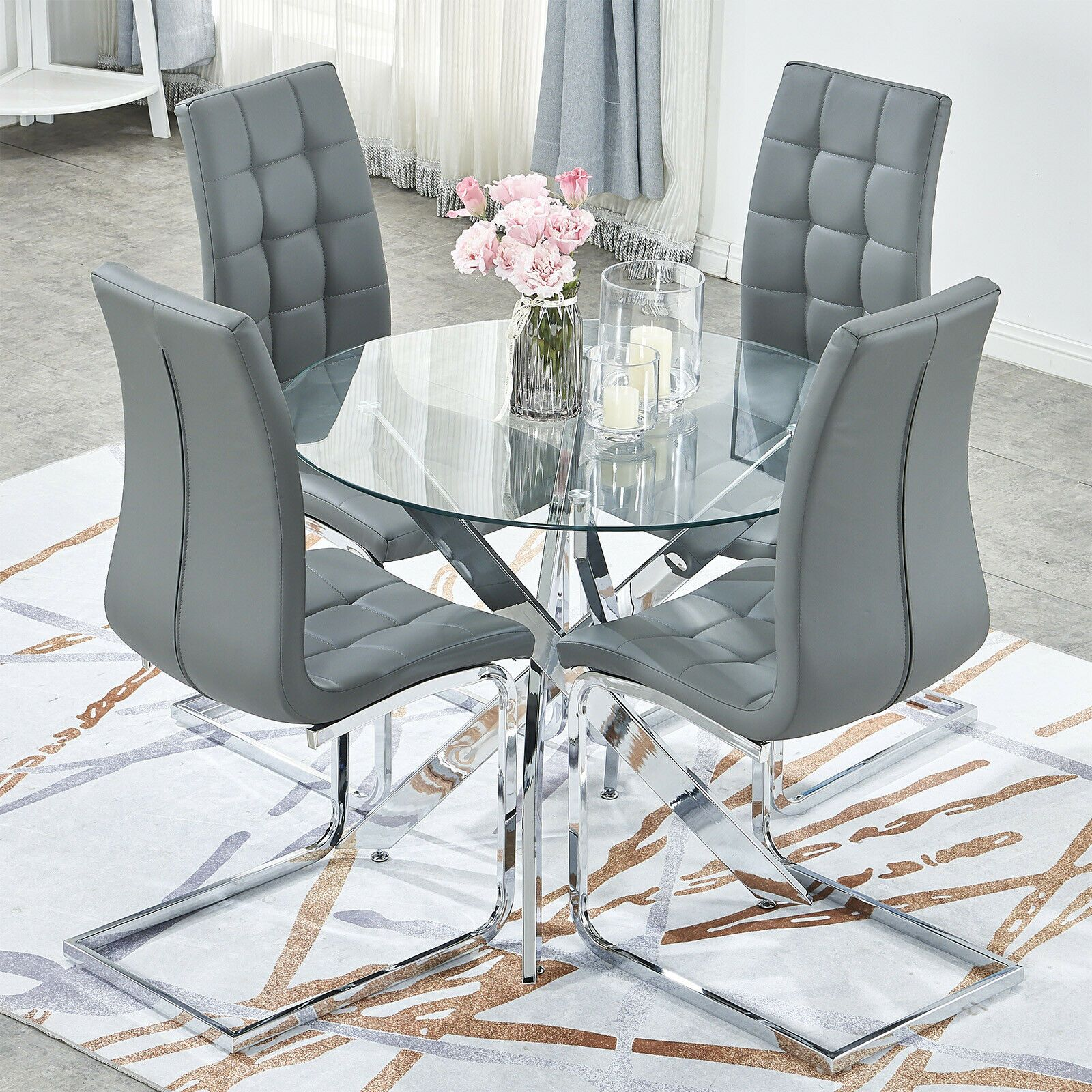 Round Kitchen Table And Chairs Set 4 Glass Round Dining Table Round Table And Chairs Round Kitchen Table