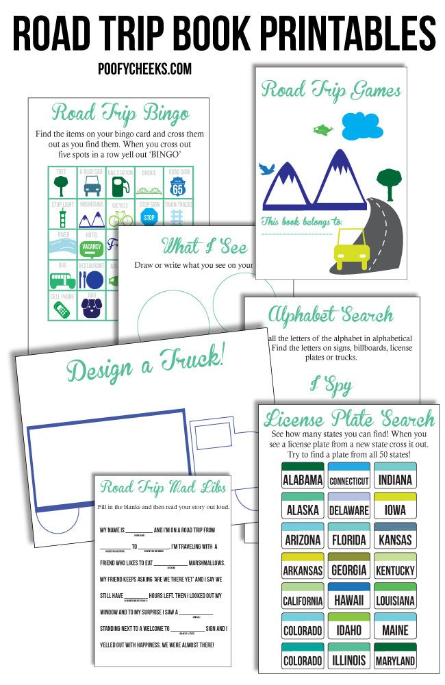 Road Trip Worksheets : Road trip printable games and activities license plate
