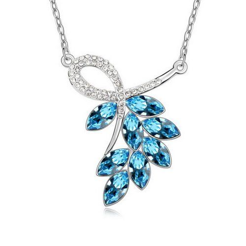 Alvdis Fashion Jewelry Leaves Style Alloy Swarovski Crystal Pendant Necklace 16 Blue *** Click on the image for additional details.(This is an Amazon affiliate link and I receive a commission for the sales)