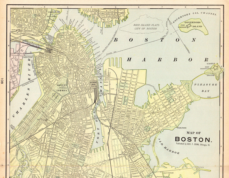 1901 Antique Boston City Map Cram S Vintage Street Map Of Etsy In 2020 Boston City Map City Map Map Print
