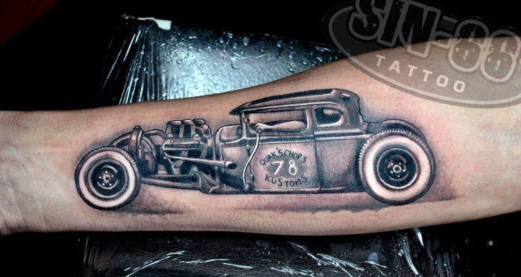 Hotrod tattoo google zoeken tattoos pinterest for Hot rod tattoos
