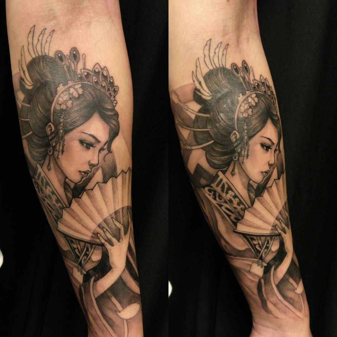 Geisha half sleeve in progress chronicink asiantattoo - Tattoos geishas japonesas ...