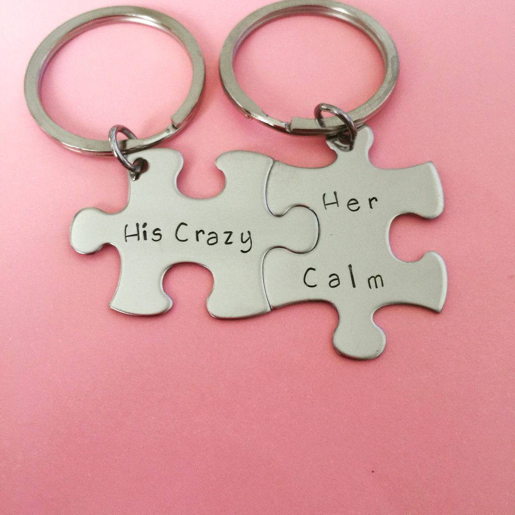 His Crazy Her Calm, Couples Keychains, anniversary gift, puzzle ...