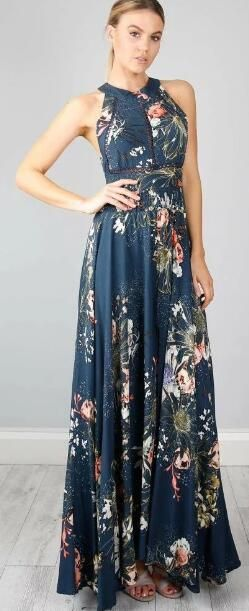 4cdec661d57f Floral Print Hollow Open Back Slit Maxi Dress in 2019