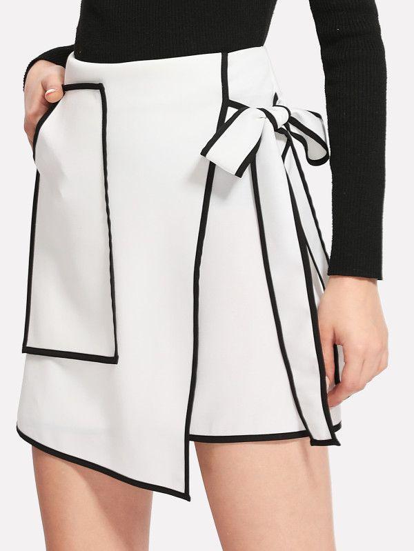 Contrast Binding Bow Tie Wrap Skirt SheIn(Sheinside