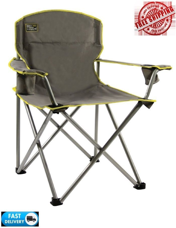 Oversize Folding Chair Compact Outdoor Seat Camping Soccer Games Bag Big  Grey #QuikShade