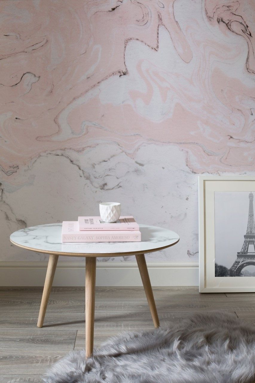 Our friends at @muralswallpaper have just completed their Marbleised wallpaper and feature our furniture in their new campaign photographs. #BoConcept #Manchester #Murals #Wallpaper #Interiors #InteriorDesign #home #Marble #coffeetable #pink #white #design #oak #fur #throw