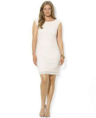 Lauren Ralph Lauren Plus Size Dress, Cap-Sleeve Crochet Lace ...