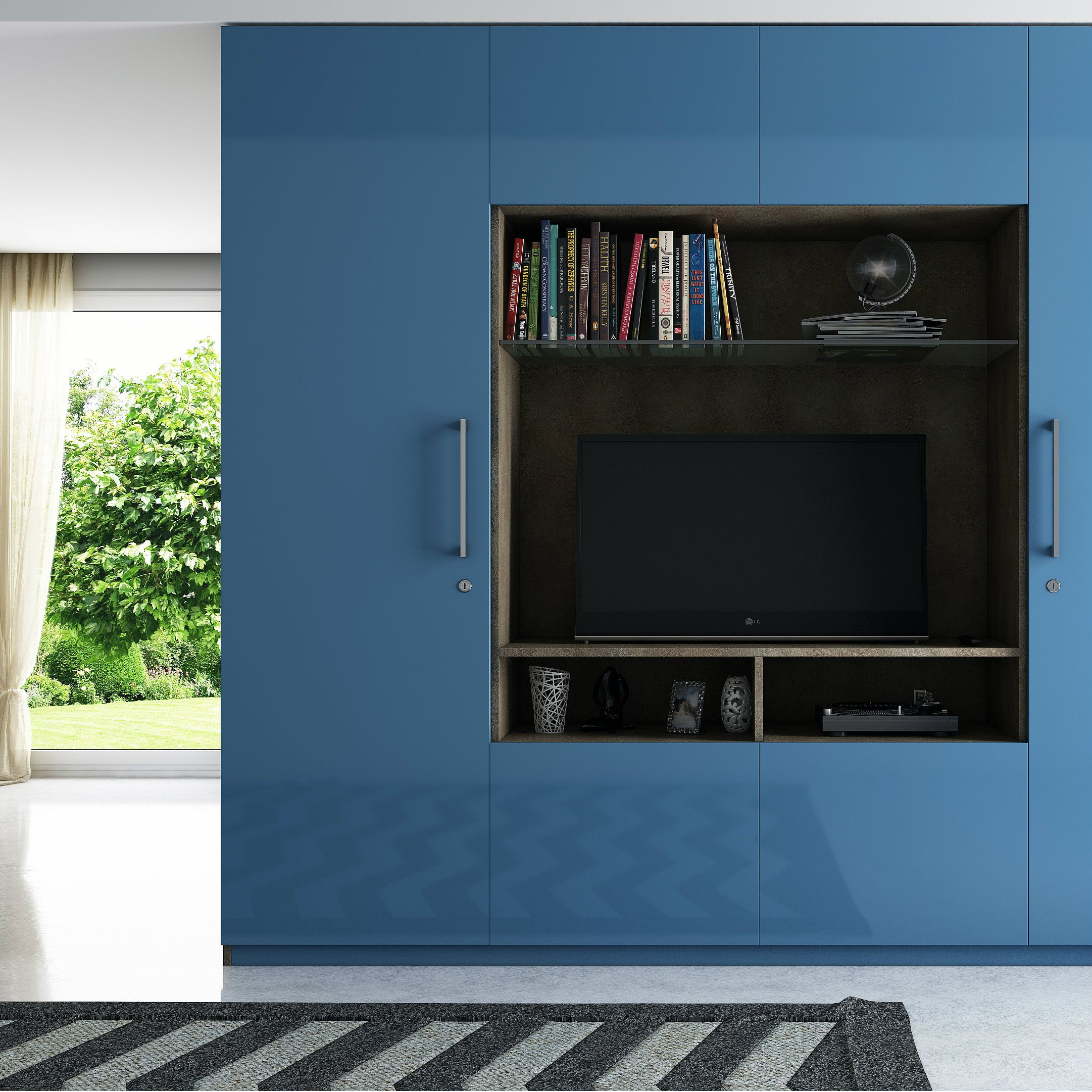 Modular wardrobe-cum-entertainment unit | Modular Wardrobes ...