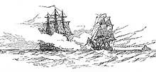 It depicts Hornet, at left, firing on the British brig sloop Penguin during the early part of the engagement.